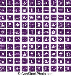 100 winter icons set grunge purple