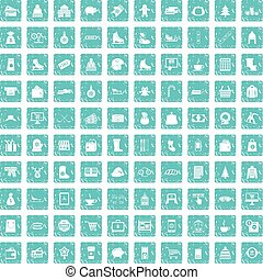 100 winter shopping icons set grunge blue