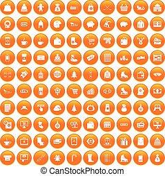 100 winter shopping icons set orange