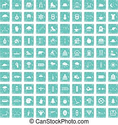 100 winter sport icons set grunge blue