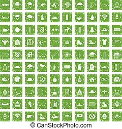 100 winter sport icons set grunge green