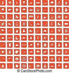 100 winter sport icons set grunge orange