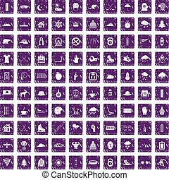 100 winter sport icons set grunge purple