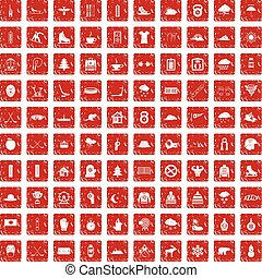 100 winter sport icons set grunge red