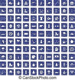 100 winter sport icons set grunge sapphire