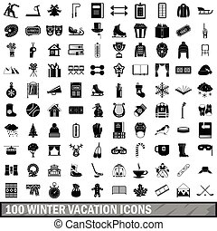 100 winter vacation icons set, simple style - 100 winter...