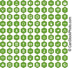 100 wireless technology icons hexagon green