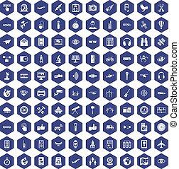 100 wireless technology icons hexagon purple
