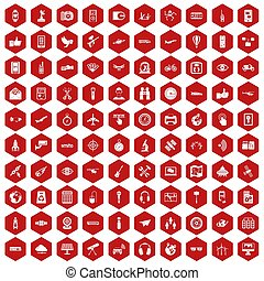 100 wireless technology icons hexagon red