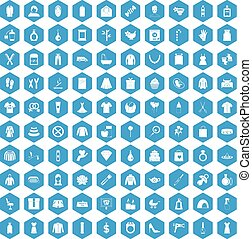 100 woman icons set blue