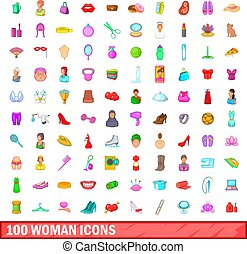 100 woman icons set, cartoon style