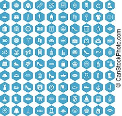 100 woman shopping icons set blue