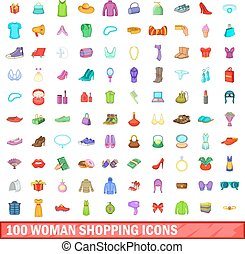 100 woman shopping icons set, cartoon style