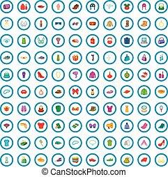 100 woman shopping icons set, cartoon style