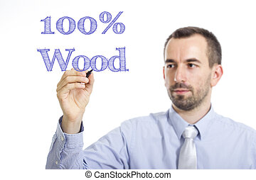 100% Wood - Young businessman writing blue text on transparent surface