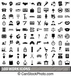 100 work icons set, simple style