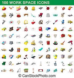 100 work space icons set, cartoon style