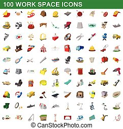 100 work space icons set, cartoon style