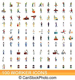 100 worker icons set, cartoon style