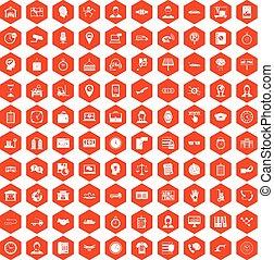100 working hours icons hexagon orange - 100 working hours ...