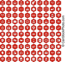 100 working hours icons hexagon red - 100 working hours ...