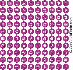 100 working hours icons hexagon violet - 100 working hours ...