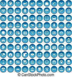 100 working hours icons set blue - 100 working hours icons ...