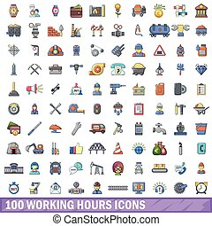 100 working hours icons set, cartoon style - 100 working ...