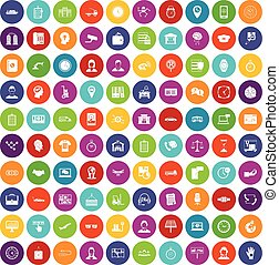100 working hours icons set color - 100 working hours icons ...