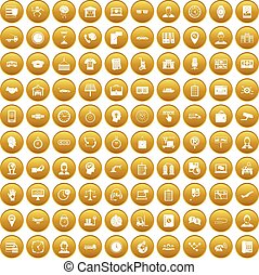 100 working hours icons set gold - 100 working hours icons ...