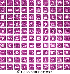 100 working hours icons set grunge pink - 100 working hours ...
