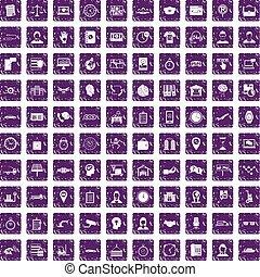 100 working hours icons set grunge purple - 100 working ...