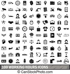 100 working hours icons set, simple style - 100 working ...
