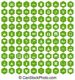 100 world icons hexagon green