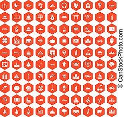 100 world icons hexagon orange