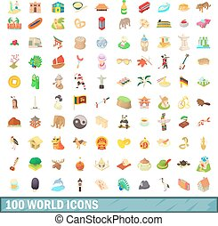 100 world icons set, cartoon style
