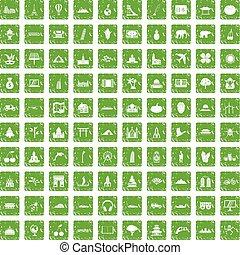 100 world icons set grunge green