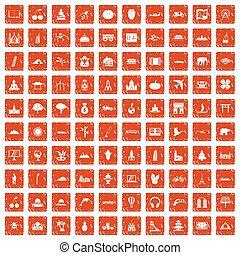 100 world icons set grunge orange
