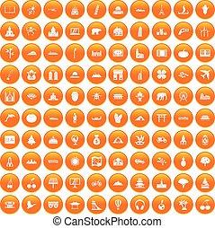 100 world icons set orange