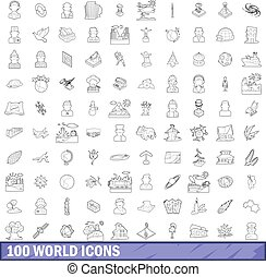 100 world icons set, outline style