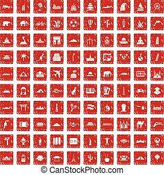 100 world tour icons set grunge red
