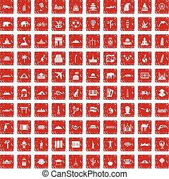 100 world tour icons set grunge red