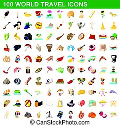 100 world travel icons set, cartoon style