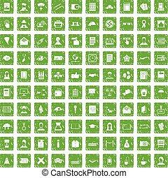 100 writer icons set grunge green