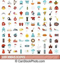 100 xmas icons set, flat style