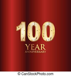 100 Year Anniversary Gold With Red Background Vector Template Design Illustration