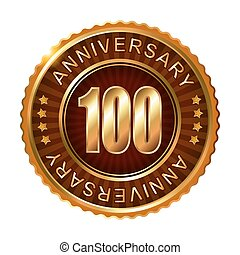 100 years anniversary golden brown label.