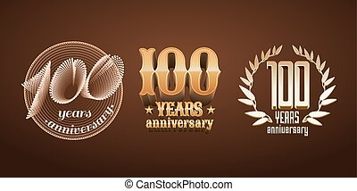 100 years anniversary set of vector logo, icon, number