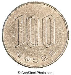 100, yens, japán, érme