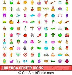 100 yoga center icons set, cartoon style